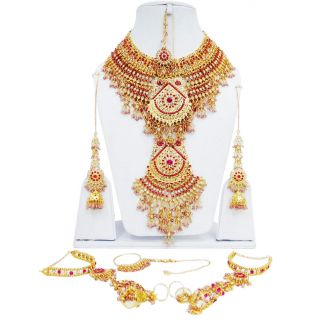 Pink CZ Bridal Necklace Set Bollywood Costume Wedding Jewelry