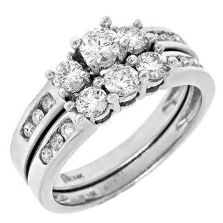 Stone Diamond Bridal Wedding Set Engagement Ring 14k White Gold