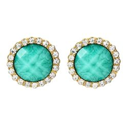 Amrita Singh Bridgehampton Gold Earrings Large Stud Turquoise Crystal