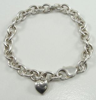 Silver Rolo Chain Bracelet Heart Charm Oval Link 8 Smooth Texture
