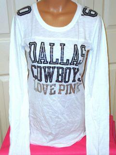 Victorias Secret Love Pink Dallas Cowboys Top Long Sleeve T Shirt Tee