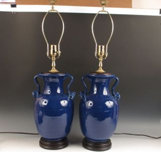 Pair Bradburn Gallery Blue Porcelain & Brass Electric Table Lamps