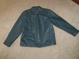Bradley by Bradley Bayou Lamb Leather Navy Jacket with Buckle Detail