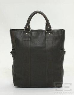 Elie Tahari Dark Brown PEBBLED Leather Brin Tote Bag New