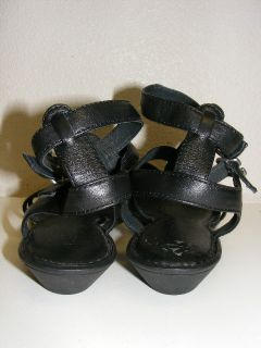 Born Bragg Black Strappy Gladiator Leather Sandals Shoes Womens 8 39