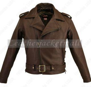 Men Brando Style Brown Biker Leather Jacket