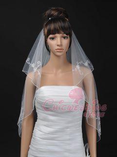 31 Pearl Pencil Edge Fingertip Length Wedding Bridal Veil (TS110103