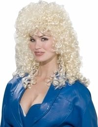 Womans Blonde Curly Dolly Parton Wig Halloween Holiday Costume Party