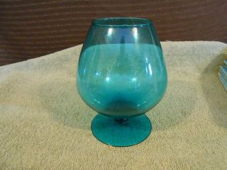 Vtg Aqua Teal Blue Small Brandy Snifter Fish Bowl
