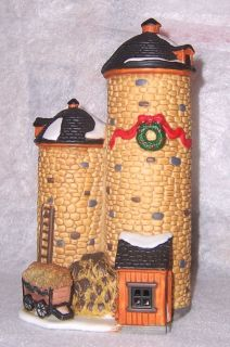 Dickens CHRISTMAS VILLAGE Country Farm SILO Silos Wagon Hay porcelain
