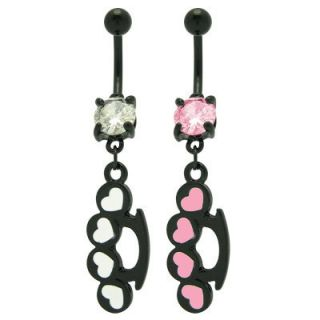 Brass Knuckles Hearts Belly Ring with CZ Gem 120765