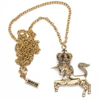 Vintage Brass Gold Unicorn Crown Chain Pendant Necklace by