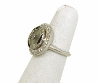 White Gold Diamonds Onyx Rock Crystal Ladies Ring Signed Brogan