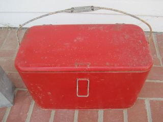 Vintage Metal Red Ice Chest Cooler with Extra Insert