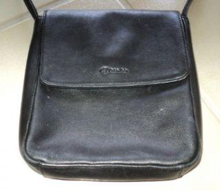 Calvin Klein Black Smooth Leather Crossbody Messenger Purse Handbag