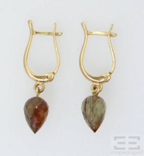 18K Yellow Gold Brown Semiprecious Gemstone Necklace Earrings