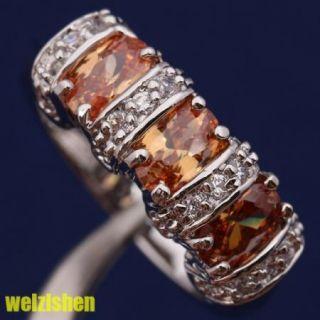 6mm 18K Gold Filled Brown Morganite Gemstone Fashion Jewelry Rings