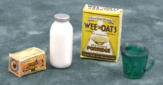 Dollhouse Mini Breakfast Food Cereal Lunch Vintage 4pc