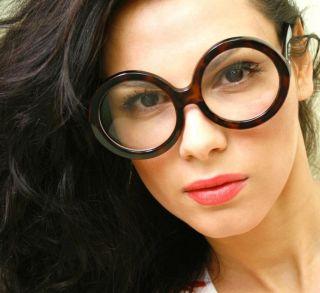 Vintage Retro Style Big Round Tortoise Frame Clear Lens Eyeglasses