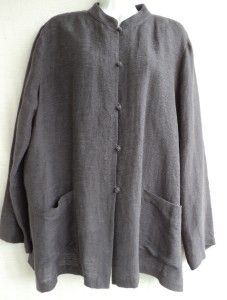 Eileen Fisher Gray Textured Linen Cotton Stand Collar Jacket Tunic L