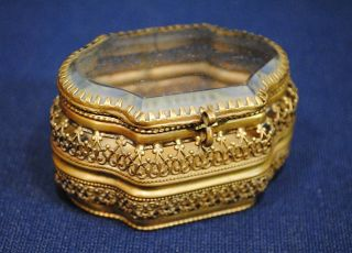 Antique French Paris Pierced Brass Bronze Box Casket with Beveled