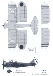 72 Choroszy BREDA Ba 28 Spanish Civil War Bomber & Italian 2 Seat