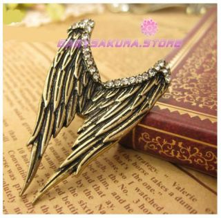 Retro Vintage Rhinestone Stereo Angel Wings Classical Lovely ring