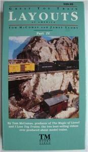 VHS VIDEO Toy Train Layouts IV Flyer, Lionel, Big Boy, Postwar, Hudson
