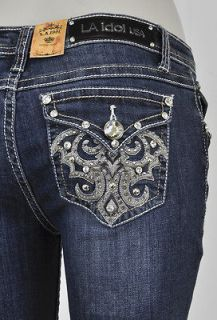La Idol Boot Cut Jeans W/ White & Brown Stitching Flower Studs Designs