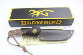 Browning Full Tang Burl Wood Bowie Hunting Knife BR322525