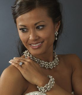 Luxurious Pearl Rhinestone Bridal Necklace Bracelet and Earrings Set
