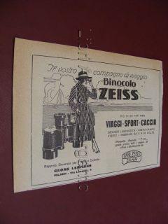 ZEISS per viaggi caccia sport Binoccolo advertising Pubblicita epoca C