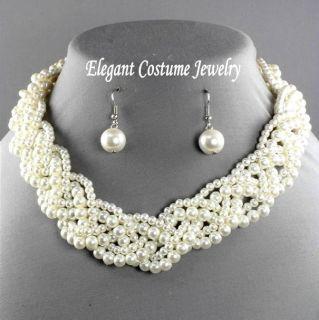 Elegant & Classy Pearl Necklace Set Chunky Bridal Bridesmaid Jewelry