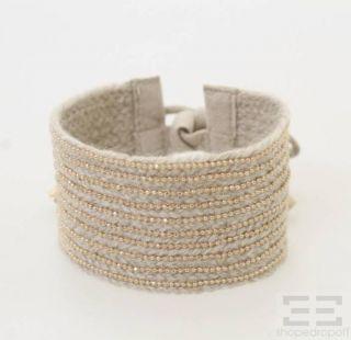 Brunello Cucinelli Taupe Cashmere Suede Beaded Tie Bracelet New