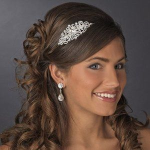 Rhinestone and Crystal Side Accent Bridal Wedding Prom Headband