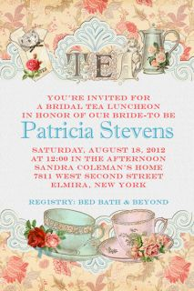 Party Luncheon Bridal Shower Wedding Teacup Invitations Brunch