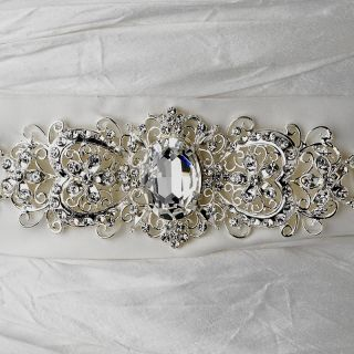 Inspired Bridal Sash with Rhinestones Crystals Silk Wedding Sash/Belt