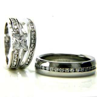 Womens Stainless Steel 1.24ct CZ Engagement Wedding Bridal Ring Set