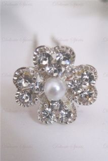 Rhinestone Flower with Pearl Center Bridal Wedding Prom Hairpins