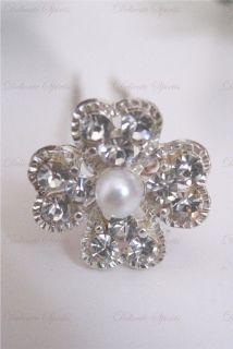 Rhinestone Flower with Pearl Center Bridal Wedding Prom Hairpins