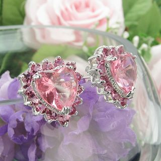 30x12~3mm Pink Sapphire Topaz 18K White Gold Plated Heart Cut Stud