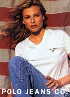 1996 Ralph Lauren Polo Bridget Hall US Flag Magazine Ad