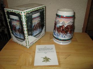 1993 Budweiser Holiday Special Delivery Beer Stein Clydesdales Horses
