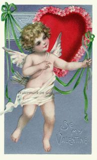 Brundage Valentine Cupid Bow and Arrows Repro Greeting Card