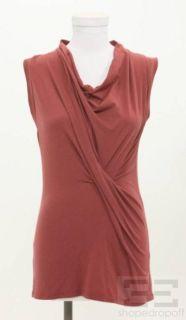 Brunello Cucinelli Rust Red Twist Front Sleeveless Top Size Medium