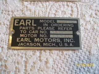 23 Earl Motor Car Co Badge Emblem Serial Plate Original Briscoe