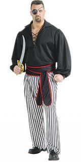 buccaneer pirate man costume xl plus size shirt pants adult black plus