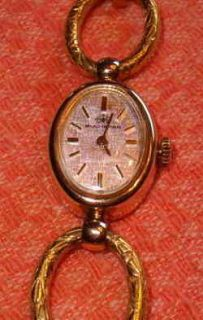Vintage Bucherer Watch Ladies Gold Plated with Deco Type Band Working