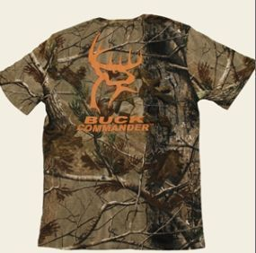 Buck Commander Camo T Shirt Short Sleeve Orange Logo