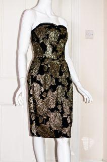 New Dolce Gabbana Black Gold Brocade Strapless Shift Dress Size 10